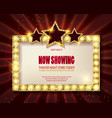 theater sign or cinema sign on red curtain vector image vector image