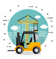under construction forklift truck vehicle city vector image vector image