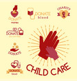 volunteer red icons charity donation set vector image vector image