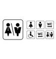 wc sign icon in square set washroom sign vector image