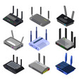 wifi router isometric set icon isolated vector image vector image