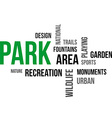 word cloud park vector image vector image