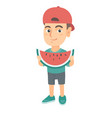 young caucasian boy eating delicious watermelon vector image vector image