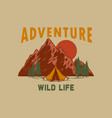 adventure wild life mountains with lettering vector image vector image