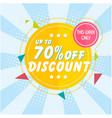 banner up to 70 off discount image vector image vector image