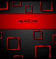 black tech background and red metallic squares vector image