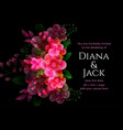 black wedding card with flower decoration template vector image vector image