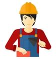 Bricklayer with spatula and brick vector image
