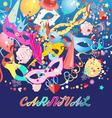 bright colorful a carnival background with mask vector image vector image