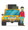 car front view off-road vehicle with driver vector image vector image