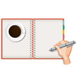 close up hand writing on blank notebook vector image vector image