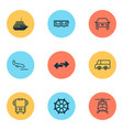 delivery icons set with rudder helicopter truck vector image