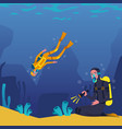 divers characters swimming and plunging underwater vector image