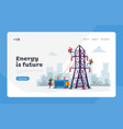 energy station powerline in city landing page vector image vector image