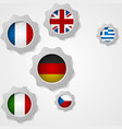 European flags and cogwheels mechanism vector image vector image