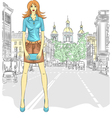 fashionable attractive girl in St Petersburg vector image vector image