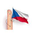 finger with czech republic waving flag vector image vector image