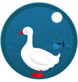goose at farm night landscape vector image
