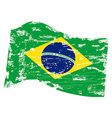 grungy Brazil flag vector image vector image