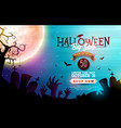 halloween sale banner with moon crow vector image