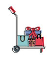 hand truck with gift boxes and shopping bags in vector image