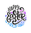 happy easter badge emblem with lettering vector image vector image