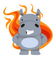 hippo with flames on white background vector image vector image
