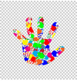 ilhouette of baby hand with colorful handprint vector image vector image