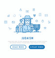 judaism concept with thin line icons vector image vector image