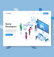landing page template game developers vector image vector image