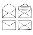 letter envelope set icon collection cartoon hand vector image vector image