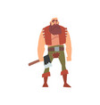 muscular barbarian warrior with axe medieval vector image vector image