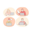 online communication elearning distant working vector image