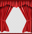 open red silk fabric curtains realistic vector image vector image