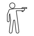 pistol violence icon outline style vector image vector image