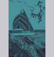 sailing ship at sea graphic abstract hand-drawn vector image vector image