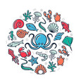 seafood colored icons in circle design vector image
