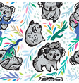 seamless pattern with cute koalas in the vector image