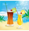 seaside view with tropical cocktails vector image