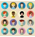 Set of circle flat icons with women vector image vector image
