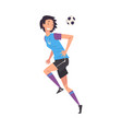 smiling girl playing soccer young woman football vector image
