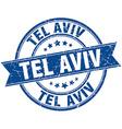 Tel Aviv blue round grunge vintage ribbon stamp vector image vector image