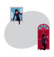 thief burglar breaking in house through front vector image vector image