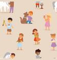 toddler cartoon kids characters little pets vector image vector image