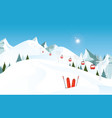winter mountain landscape with pair of skis in vector image vector image