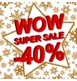 Winter sale poster with WOW SUPER SALE MINUS 40 vector image vector image