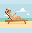 woman on beach outdoors summer lifestyle sunlight vector image vector image