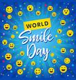 world smile day beam blue banner vector image