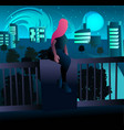 young woman with pink hair looking at city vector image