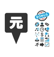 Yuan Map Pointer Flat Icon with Bonus vector image vector image